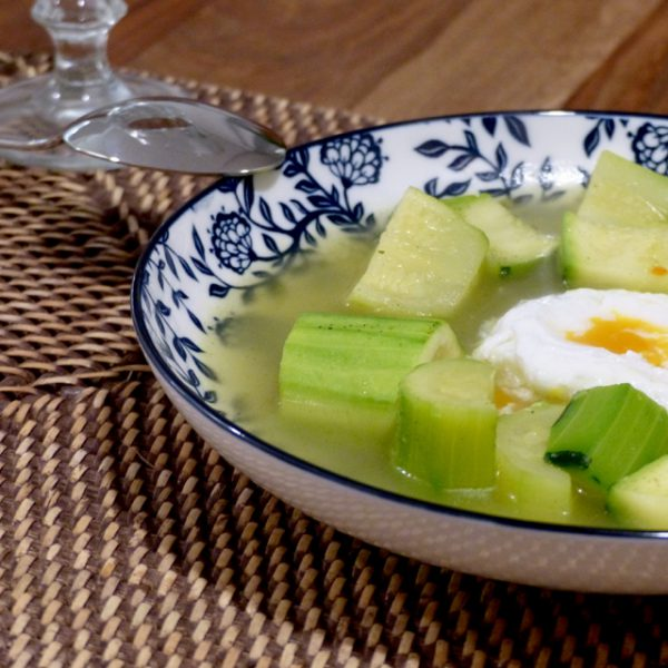 Zucchini Soup and Poached Egg. So easy, so simple.