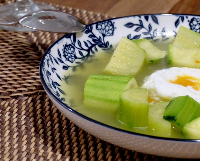 Zucchini Soup and Poached Egg