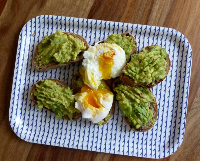 Avocado toast with poached eggs. Delicious, but not that green…